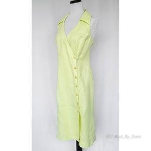 ESCADA • Pastel Green Sleeveless Linen Wrap Dress